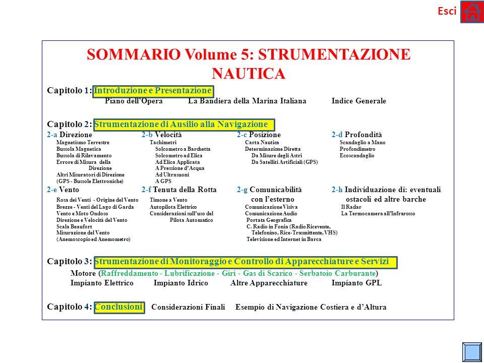 * Esci SOMMARIO Volume 5: STRUMENTAZIONE NAUTICA Capitolo 1: Introduzione e Presentazione Piano dellOpera La Bandiera della Marina Italiana Indice Gen