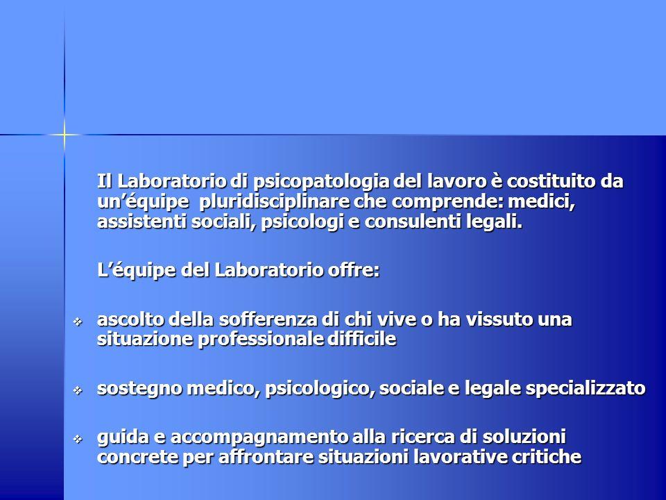 Il Laboratorio di psicopatologia del lavoro è costituito da unéquipe pluridisciplinare che comprende: medici, assistenti sociali, psicologi e consulenti legali.