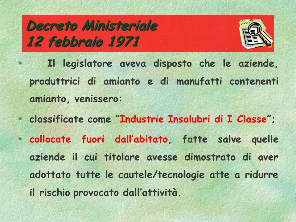 Le prime norme La prima norma italiana, che prende in considerazione il rischio amianto, è del 1936 (R.D. n. 1720/36). Viene specificata la tipologia