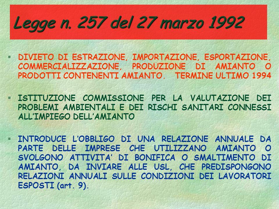 Legge n. 257 del 27 marzo 1992 (Cessazione nelluso di materiale contenente amianto) §La normativa sino ad ora esaminata ha: viva lattenzione §tenuto v