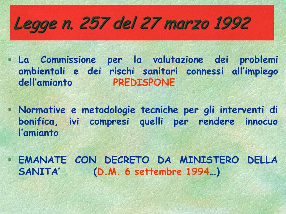 Legge n. 257 del 27 marzo 1992 §CONTENUTI DELLA RELAZIONE ANNUALE DELLE IMPRESE: - tipi e quantità di amianto utilizzati e dei rifiuti di amianto ogge