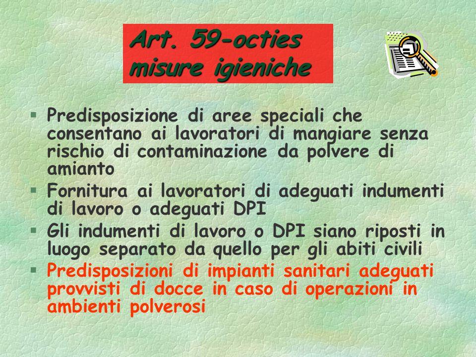 Art. 59-octies misure igieniche §Il datore di lavoro adotta le misure appropriate affinchè i luoghi in cui si svolgono tali attività siano §Delimitati
