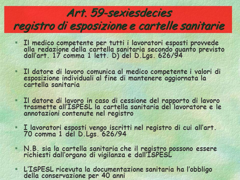 Art. 59-quinquiesdecies sorveglianza sanitaria §Accertamenti minimi della sorveglianza sanitaria: »1) anamnesi individuale »2) esami clinico generale