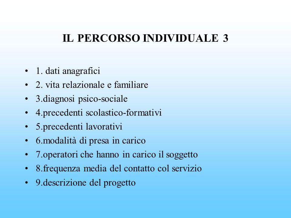 IL PERCORSO INDIVIDUALE 3 1. dati anagrafici 2. vita relazionale e familiare 3.diagnosi psico-sociale 4.precedenti scolastico-formativi 5.precedenti l