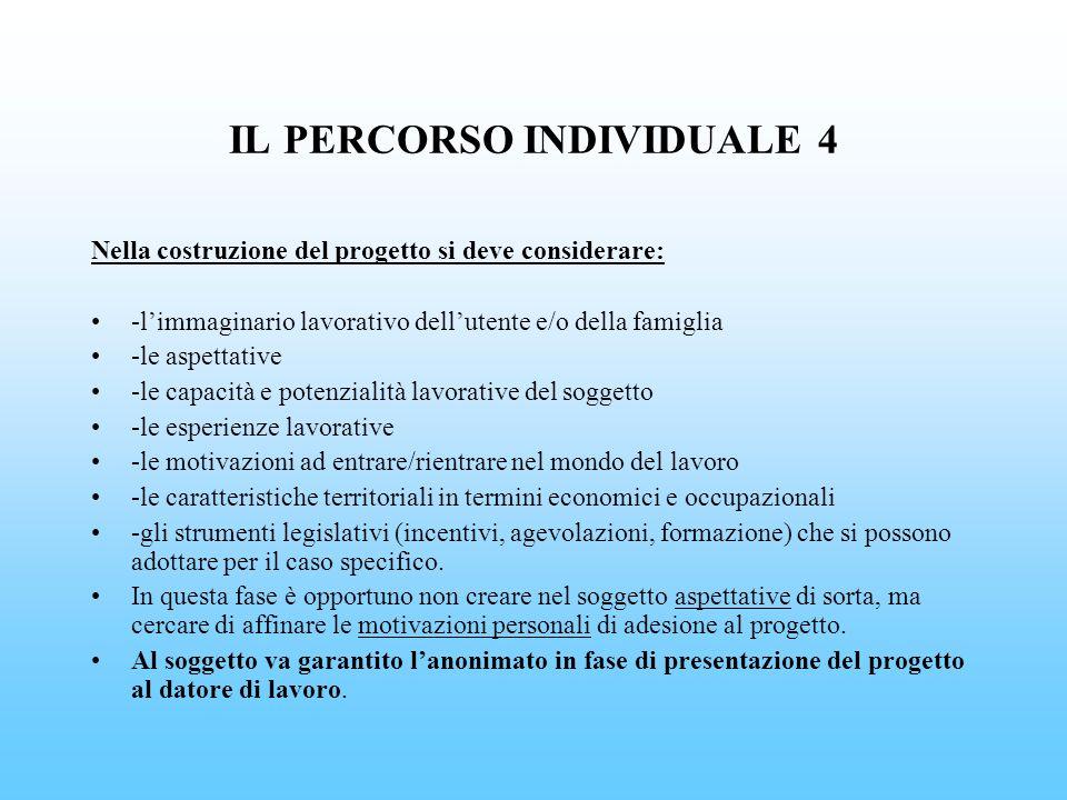 IL PERCORSO INDIVIDUALE 4 Nella costruzione del progetto si deve considerare: -limmaginario lavorativo dellutente e/o della famiglia -le aspettative -