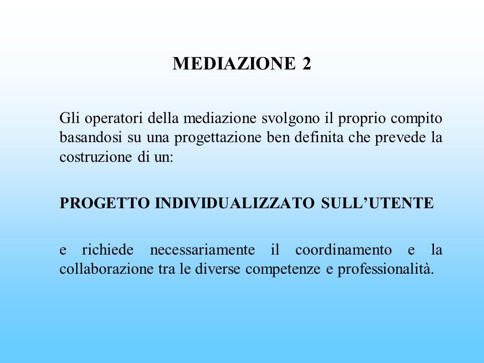 MEDIAZIONE 2 Gli operatori della mediazione svolgono il proprio compito basandosi su una progettazione ben definita che prevede la costruzione di un: