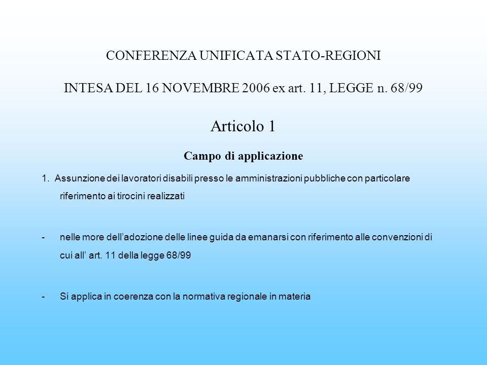 CONFERENZA UNIFICATA STATO-REGIONI INTESA DEL 16 NOVEMBRE 2006 ex art. 11, LEGGE n. 68/99 Articolo 1 Campo di applicazione 1. Assunzione dei lavorator