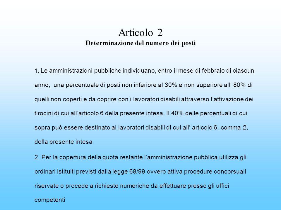 Articolo 2 Determinazione del numero dei posti 1. Le amministrazioni pubbliche individuano, entro il mese di febbraio di ciascun anno, una percentuale