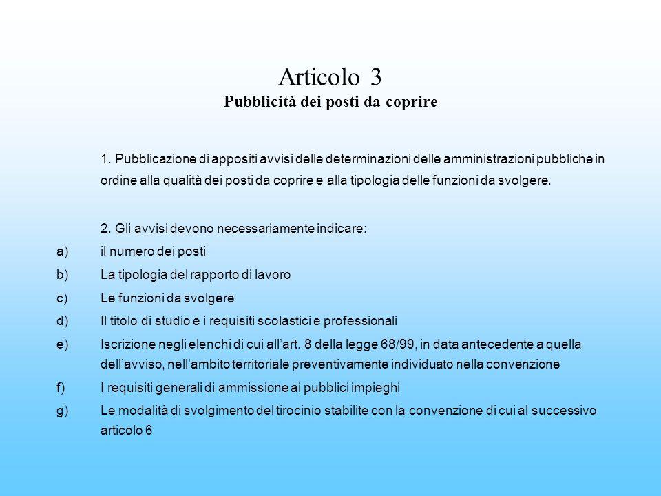 Articolo 3 Pubblicità dei posti da coprire 1. Pubblicazione di appositi avvisi delle determinazioni delle amministrazioni pubbliche in ordine alla qua
