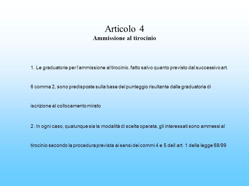 Articolo 4 Ammissione al tirocinio 1. Le graduatorie per lammissione al tirocinio, fatto salvo quanto previsto dal successivo art. 6 comma 2, sono pre