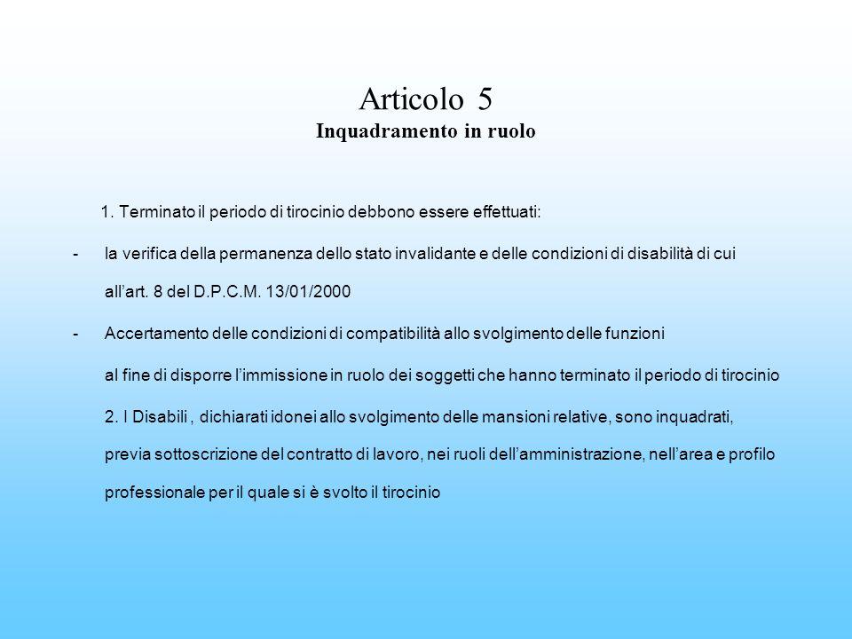 Articolo 5 Inquadramento in ruolo 1. Terminato il periodo di tirocinio debbono essere effettuati: -la verifica della permanenza dello stato invalidant