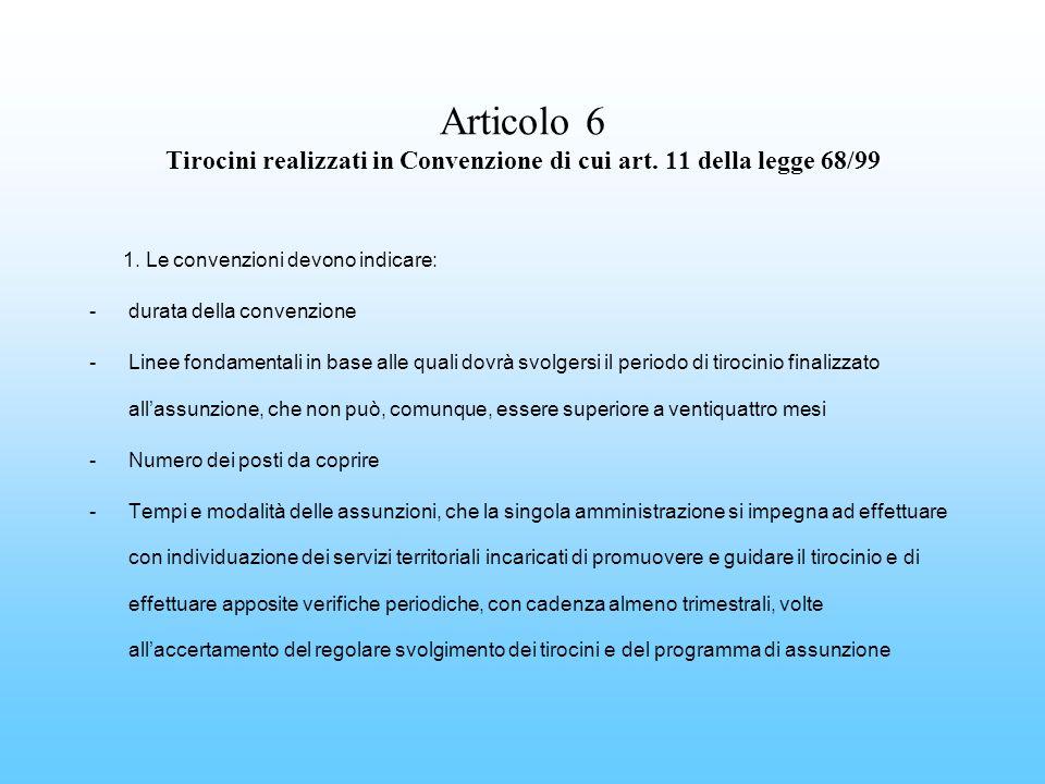 Articolo 6 Tirocini realizzati in Convenzione di cui art. 11 della legge 68/99 1. Le convenzioni devono indicare: -durata della convenzione -Linee fon