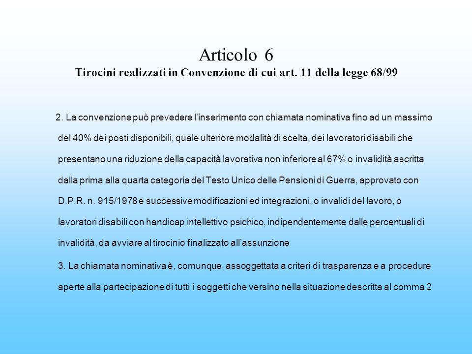 Articolo 6 Tirocini realizzati in Convenzione di cui art. 11 della legge 68/99 2. La convenzione può prevedere linserimento con chiamata nominativa fi