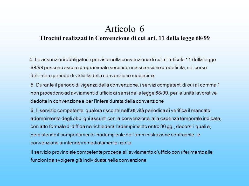 Articolo 6 Tirocini realizzati in Convenzione di cui art. 11 della legge 68/99 4. Le assunzioni obbligatorie previste nella convenzione di cui allarti