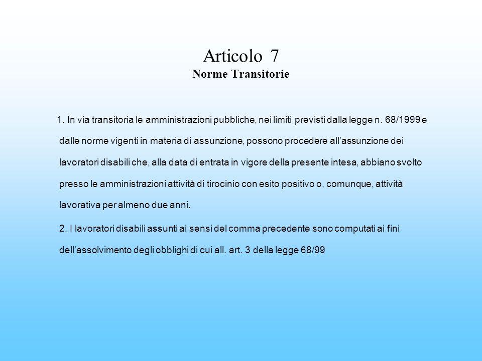 Articolo 7 Norme Transitorie 1. In via transitoria le amministrazioni pubbliche, nei limiti previsti dalla legge n. 68/1999 e dalle norme vigenti in m