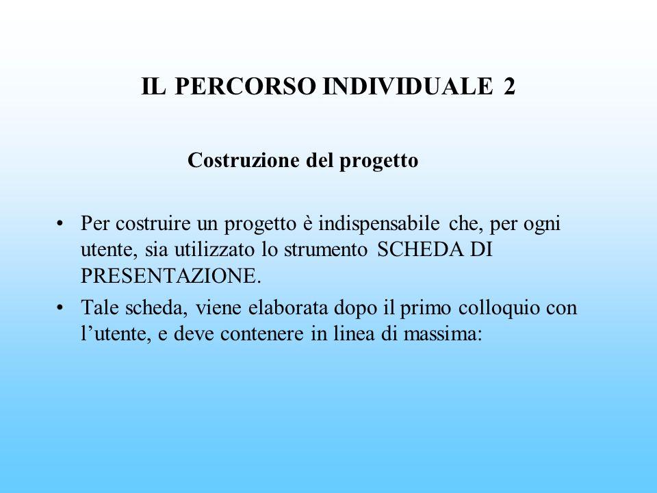 IL PERCORSO INDIVIDUALE 2 Costruzione del progetto Per costruire un progetto è indispensabile che, per ogni utente, sia utilizzato lo strumento SCHEDA