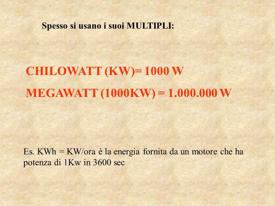 Spesso si usano i suoi MULTIPLI: CHILOWATT (KW)= 1000 W MEGAWATT (1000KW) = 1.000.000 W Es. KWh = KW/ora è la energia fornita da un motore che ha pote