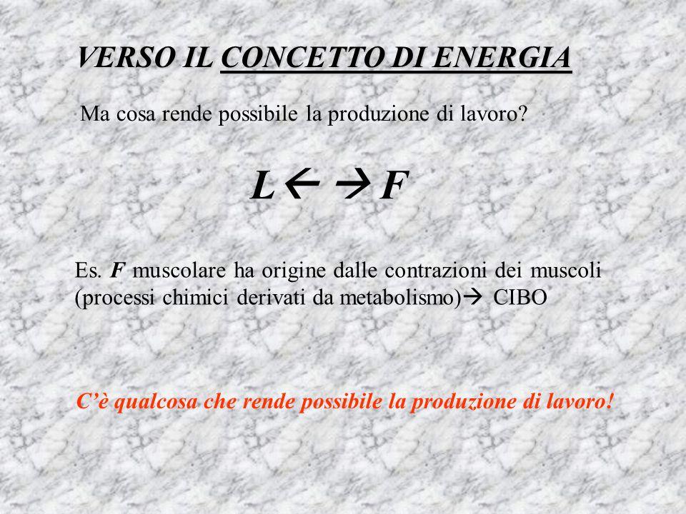 VERSO IL CONCETTO DI ENERGIA Ma cosa rende possibile la produzione di lavoro? L F Es. F muscolare ha origine dalle contrazioni dei muscoli (processi c