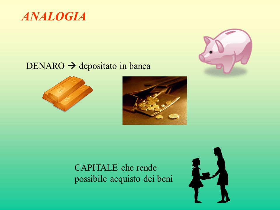 ANALOGIA DENARO depositato in banca CAPITALE che rende possibile acquisto dei beni