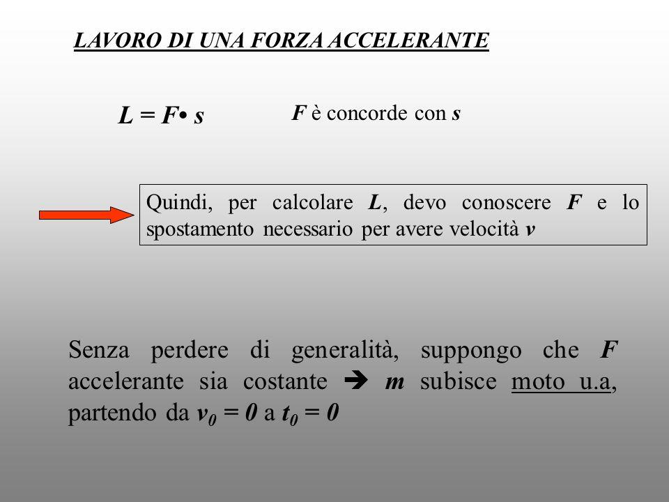 LAVORO DI UNA FORZA ACCELERANTE L = F s F è concorde con s Quindi, per calcolare L, devo conoscere F e lo spostamento necessario per avere velocità v