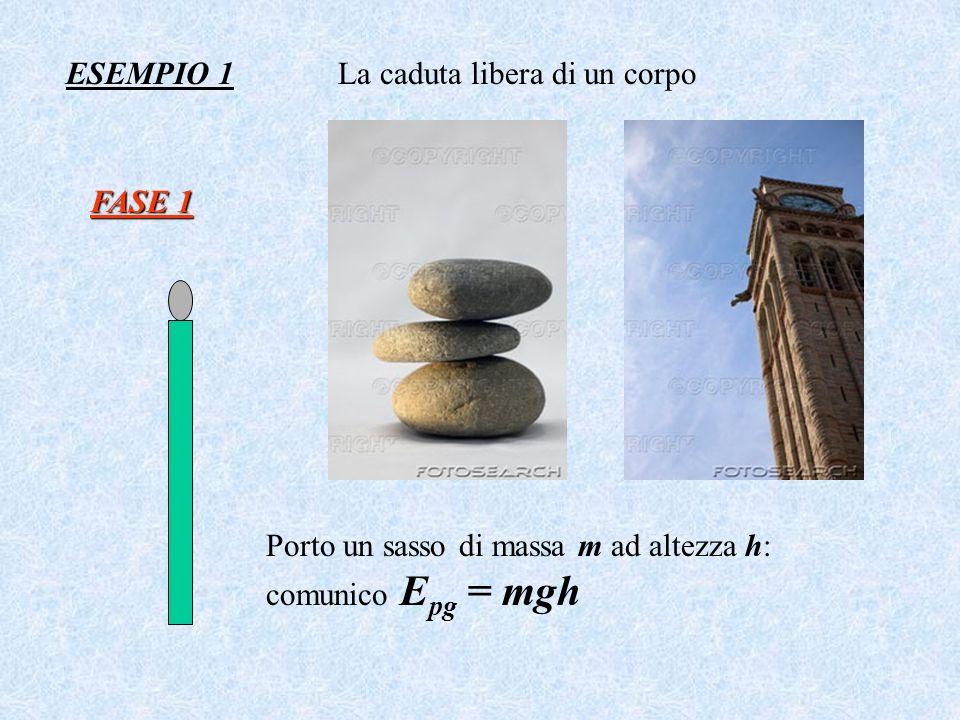 ESEMPIO 1 FASE 1 La caduta libera di un corpo Porto un sasso di massa m ad altezza h: comunico E pg = mgh