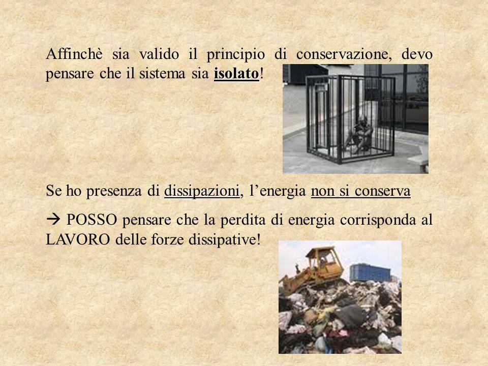 isolato Affinchè sia valido il principio di conservazione, devo pensare che il sistema sia isolato! dissipazioni Se ho presenza di dissipazioni, lener