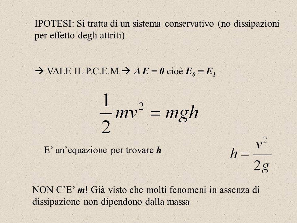 IPOTESI: Si tratta di un sistema conservativo (no dissipazioni per effetto degli attriti) VALE IL P.C.E.M. E = 0 cioè E 0 = E 1 E unequazione per trov