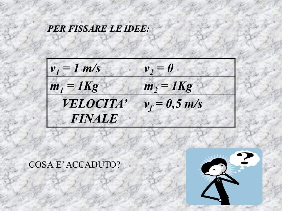 PER FISSARE LE IDEE: v 1 = 1 m/sv 2 = 0 m 1 = 1Kgm 2 = 1Kg VELOCITA FINALE v f = 0,5 m/s COSA E ACCADUTO?