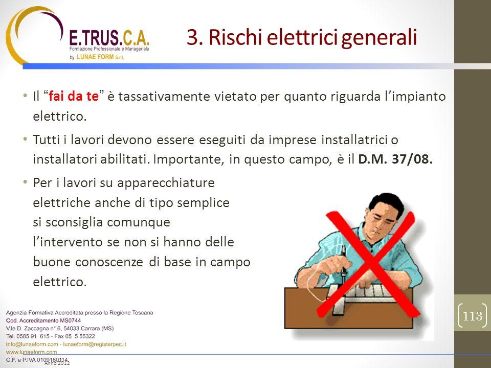 Anno 2012 Il fai da te è tassativamente vietato per quanto riguarda limpianto elettrico. Tutti i lavori devono essere eseguiti da imprese installatric