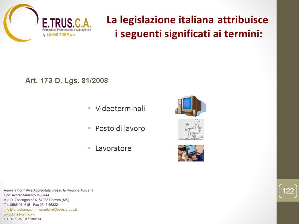 Videoterminali Posto di lavoro Lavoratore La legislazione italiana attribuisce i seguenti significati ai termini: Art. 173 D. Lgs. 81/2008 122