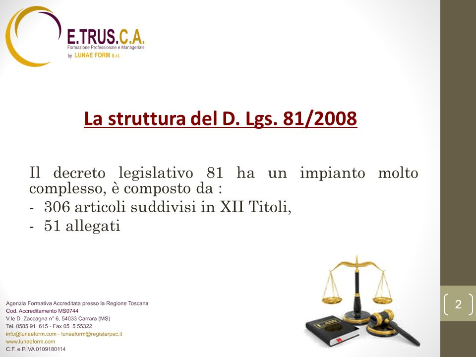 La struttura del D. Lgs. 81/2008 Il decreto legislativo 81 ha un impianto molto complesso, è composto da : - 306 articoli suddivisi in XII Titoli, - 5
