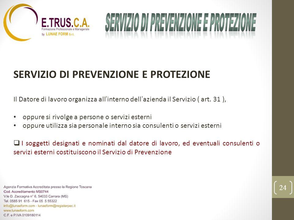 24 SERVIZIO DI PREVENZIONE E PROTEZIONE Il Datore di lavoro organizza allinterno dellazienda il Servizio ( art. 31 ), oppure si rivolge a persone o se