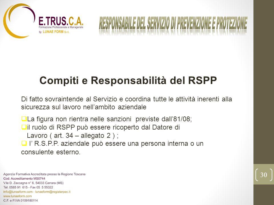 30 Compiti e Responsabilità del RSPP Di fatto sovraintende al Servizio e coordina tutte le attività inerenti alla sicurezza sul lavoro nellambito azie