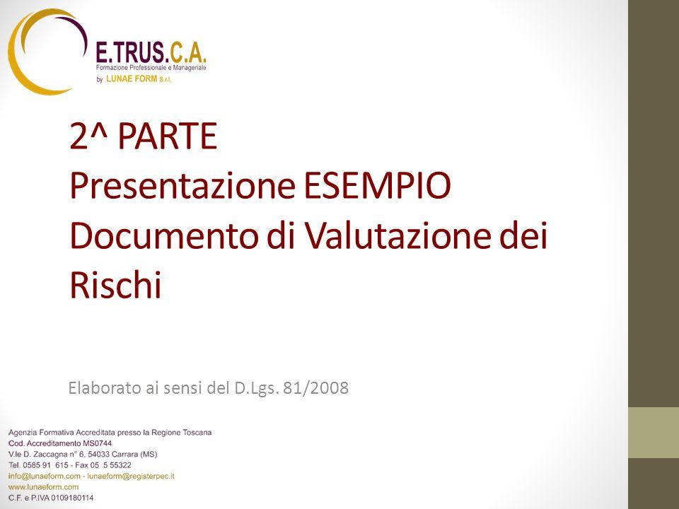 2^ PARTE Presentazione ESEMPIO Documento di Valutazione dei Rischi Elaborato ai sensi del D.Lgs. 81/2008