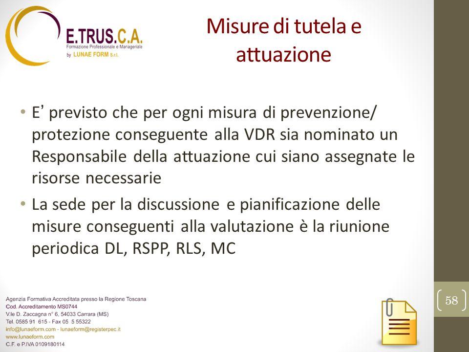 Misure di tutela e attuazione E previsto che per ogni misura di prevenzione/ protezione conseguente alla VDR sia nominato un Responsabile della attuaz
