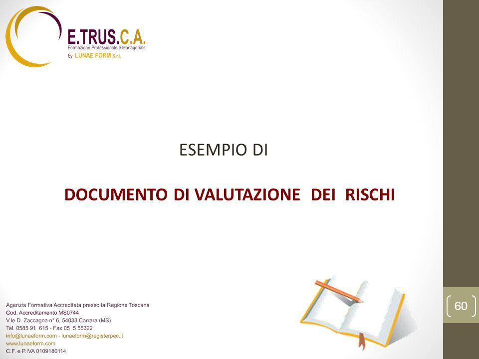 ESEMPIO DI DOCUMENTO DI VALUTAZIONE DEI RISCHI 60