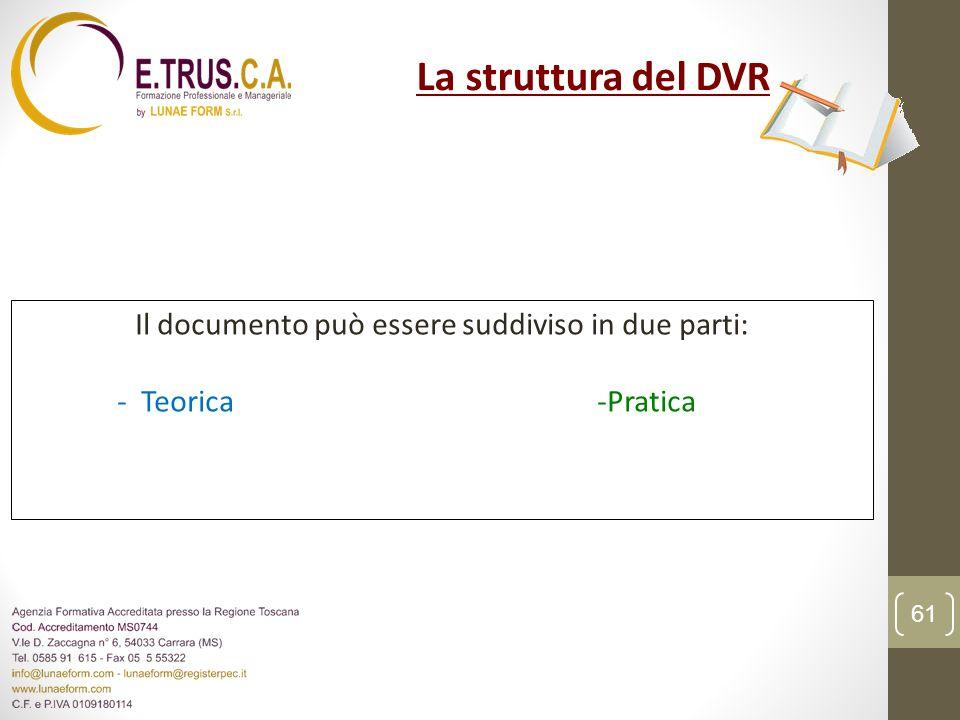 Il documento può essere suddiviso in due parti: - Teorica -Pratica La struttura del DVR 61