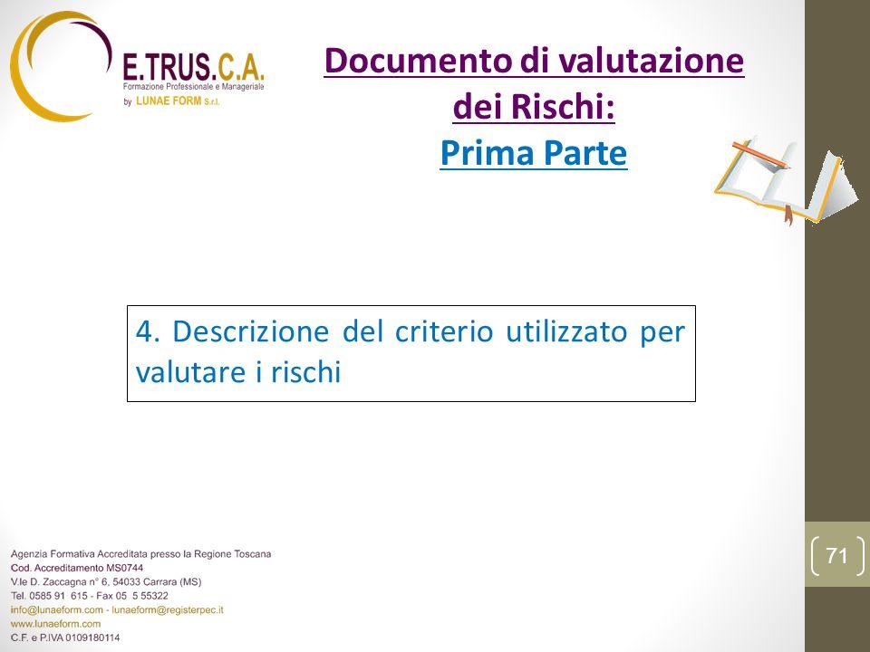 4. Descrizione del criterio utilizzato per valutare i rischi 71 Documento di valutazione dei Rischi: Prima Parte