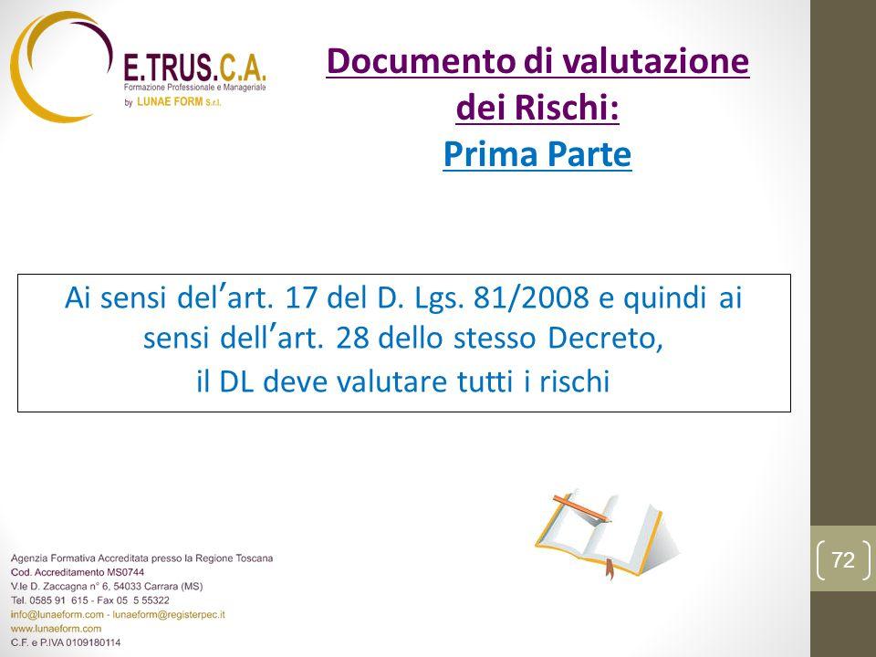 Ai sensi delart. 17 del D. Lgs. 81/2008 e quindi ai sensi dellart. 28 dello stesso Decreto, il DL deve valutare tutti i rischi 72 Documento di valutaz