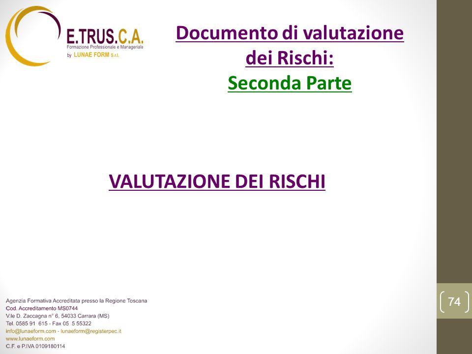 VALUTAZIONE DEI RISCHI 74 Documento di valutazione dei Rischi: Seconda Parte