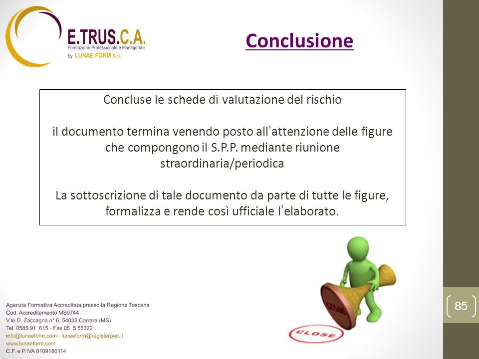 Conclusione Concluse le schede di valutazione del rischio il documento termina venendo posto allattenzione delle figure che compongono il S.P.P. media