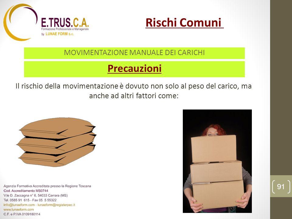 Precauzioni Il rischio della movimentazione è dovuto non solo al peso del carico, ma anche ad altri fattori come: 91 Rischi Comuni MOVIMENTAZIONE MANU