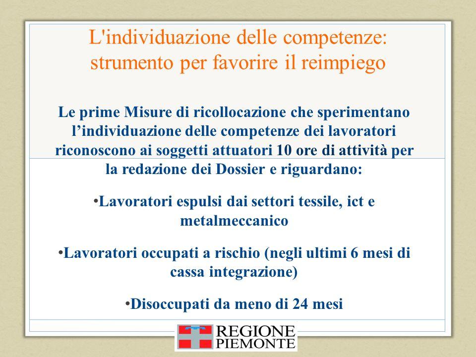 L'individuazione delle competenze: strumento per favorire il reimpiego Le prime Misure di ricollocazione che sperimentano lindividuazione delle compet