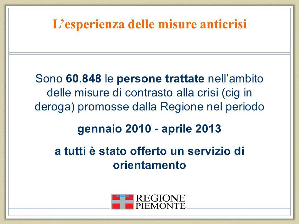 Lesperienza delle misure anticrisi Sono 60.848 le persone trattate nellambito delle misure di contrasto alla crisi (cig in deroga) promosse dalla Regi