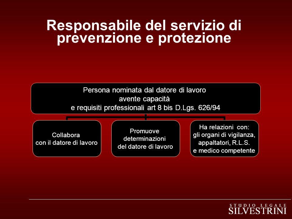 Responsabile del servizio di prevenzione e protezione Persona nominata dal datore di lavoro avente capacità e requisiti professionali art 8 bis D.Lgs.