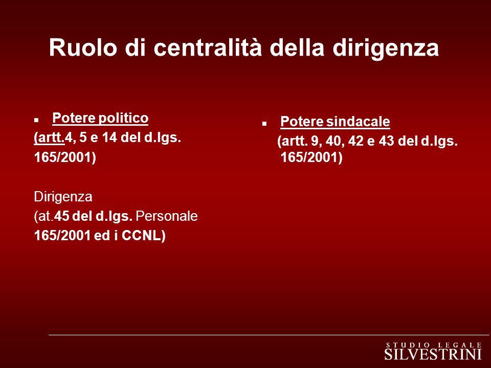 Ruolo di centralità della dirigenza n Potere politico (artt.4, 5 e 14 del d.lgs. 165/2001) Dirigenza (at.45 del d.lgs. Personale 165/2001 ed i CCNL) n