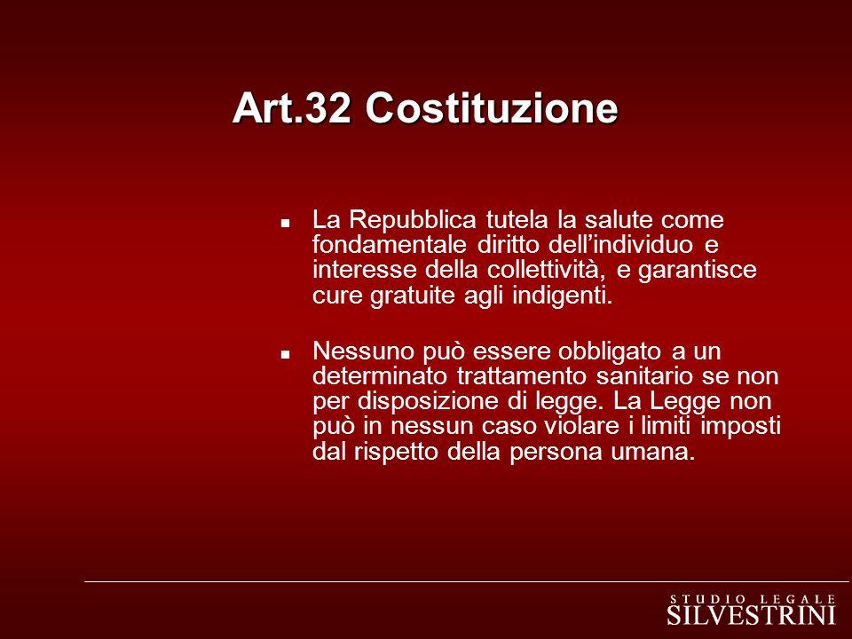 Art.32 Costituzione n La Repubblica tutela la salute come fondamentale diritto dellindividuo e interesse della collettività, e garantisce cure gratuit