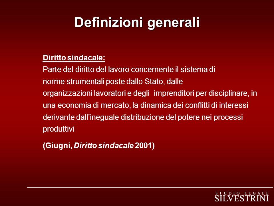 Diritto sindacale: Parte del diritto del lavoro concernente il sistema di norme strumentali poste dallo Stato, dalle organizzazioni lavoratori e degli