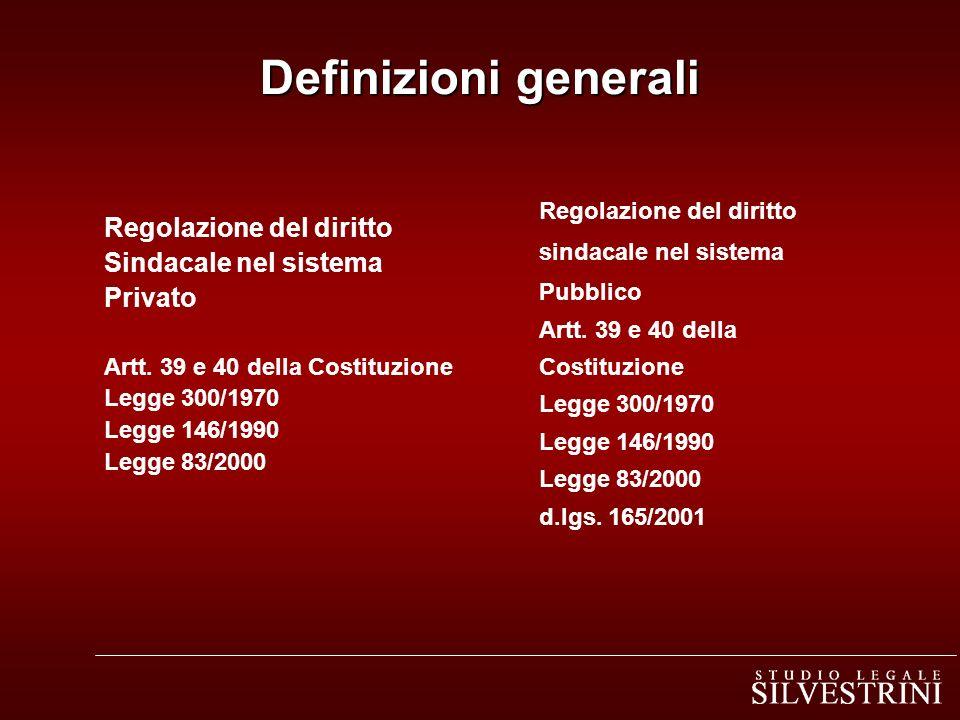 Regolazione del diritto Sindacale nel sistema Privato Artt. 39 e 40 della Costituzione Legge 300/1970 Legge 146/1990 Legge 83/2000 Regolazione del dir