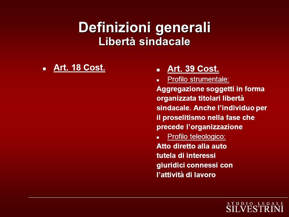 Definizioni generali Libertà sindacale n Art. 18 Cost. n Art. 39 Cost. n Profilo strumentale: Aggregazione soggetti in forma organizzata titolari libe